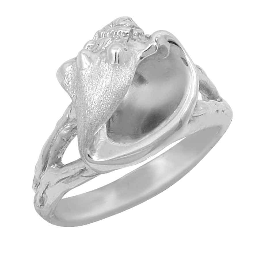Sterling Silver Large Stylized Conch Ring