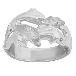 Sterling Silver 5 Swimming Dolphins Ring