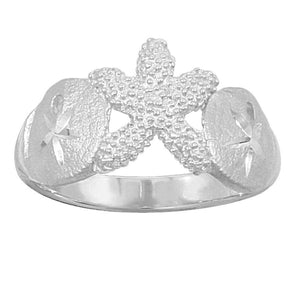Sterling Silver 2 Sanddollar and Starfish Ring