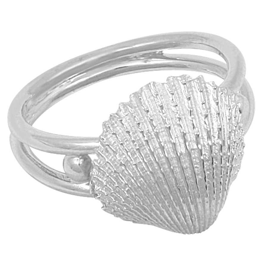Sterling Silver Cockle Shell Split Shank Ring