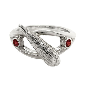 "01 January ""Birthshell"" Sterling Silver Ring: The Auger Shell with Garnets"
