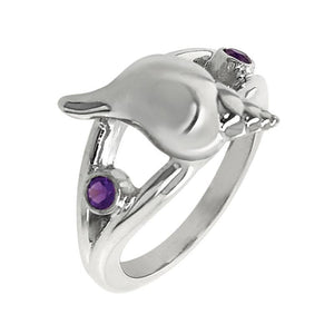 "02 February ""Birthshell"" Sterling Silver Ring:  The Tulip Shell with Amethysts"