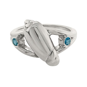 "03 March ""Birthshell"" Sterling Silver Ring:  The Olive Shell with Aquamarines"