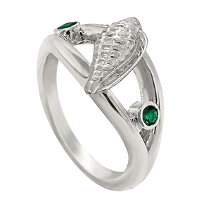 "05 May ""Birthshell"" Sterling Silver Ring: The Junonia Shell with Emeralds"