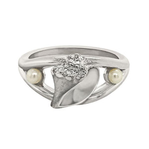 "06 June ""Birthshell"" Sterling Silver Ring:  The Conch Shell with Pearls"