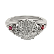 "Load image into Gallery viewer, 07 July ""Birthshell"" Sterling Silver Ring: The Lion's Paw with Rubies"