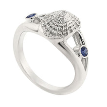 "Load image into Gallery viewer, 09 September ""Birthshell"" Sterling Silver Ring: The Limpet Shell with Sapphires"