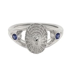 "09 September ""Birthshell"" Sterling Silver Ring: The Limpet Shell with Sapphires"