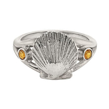 "Load image into Gallery viewer, 11 November ""Birthshell"" Sterling Silver Ring: The Scallop Shell with Citrines"
