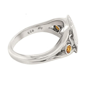 "11 November ""Birthshell"" Sterling Silver Ring: The Scallop Shell with Citrines"