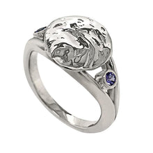 "Load image into Gallery viewer, 12 December ""Birthshell"" Sterling Silver Ring: The Jingle Shell with Tanzanites"