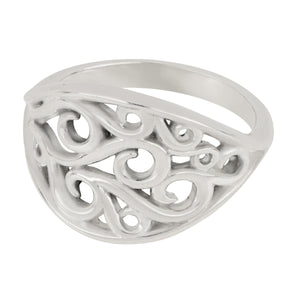 Sterling Silver Wave Oval Ring, Size 6.5