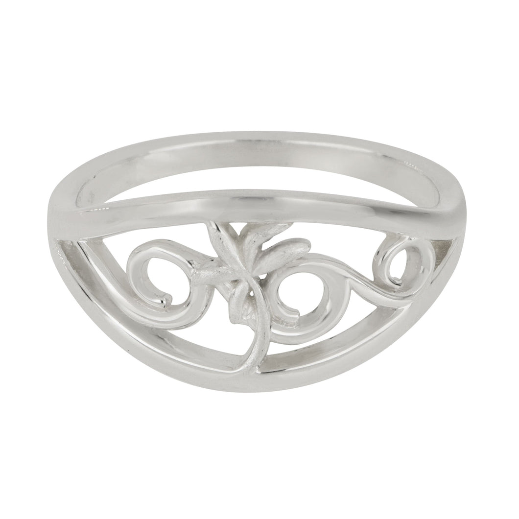 Sterling Silver Narrow Wave With Palm Tree Ring, Size 6.5