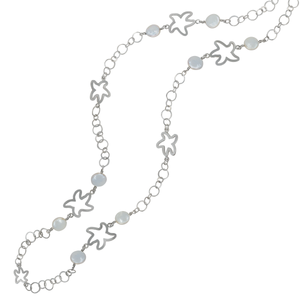 "Sterling Silver 40"" Circle Link Necklace with 9 Open Starfish and 8 13mm Coin Pearls"