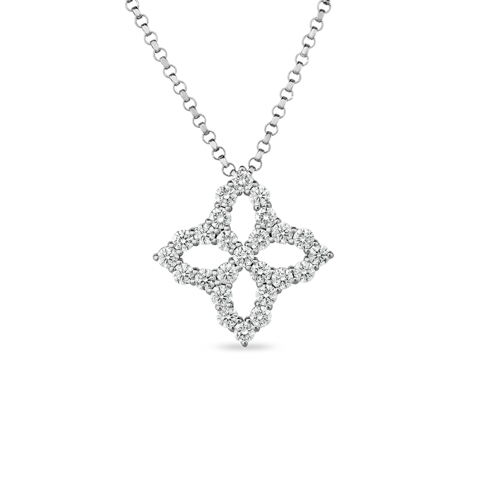 Roberto Coin 18 karat white gold Medium Outline Princess Flower Diamond Pendant 16-18