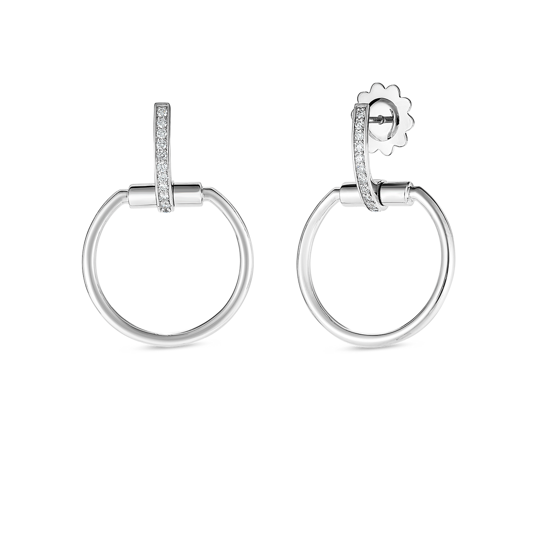 Roberto Coin 18 karat white gold Small Classic Parisienne Diamond Earrings, D=0.20tw