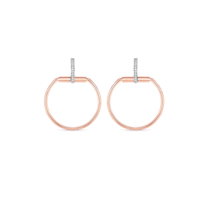 Roberto Coin 18 karat rose and white gold Medium Classic Parisienne Diamond Earrings, D=0.20tw