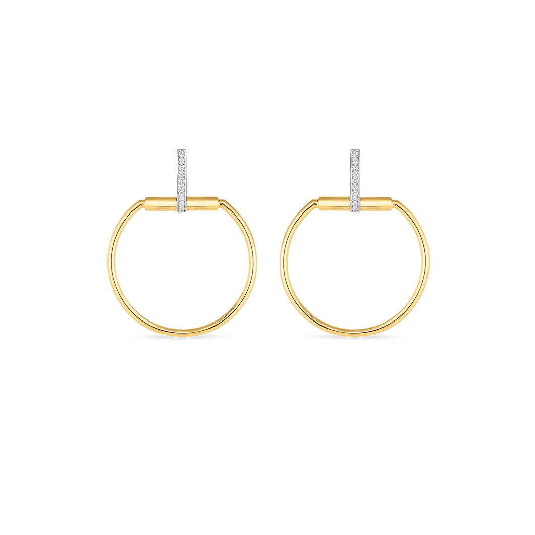 Roberto Coin 18 karat yellow and white gold Medium Classic Parisienne Diamond Earrings, D=0.20tw