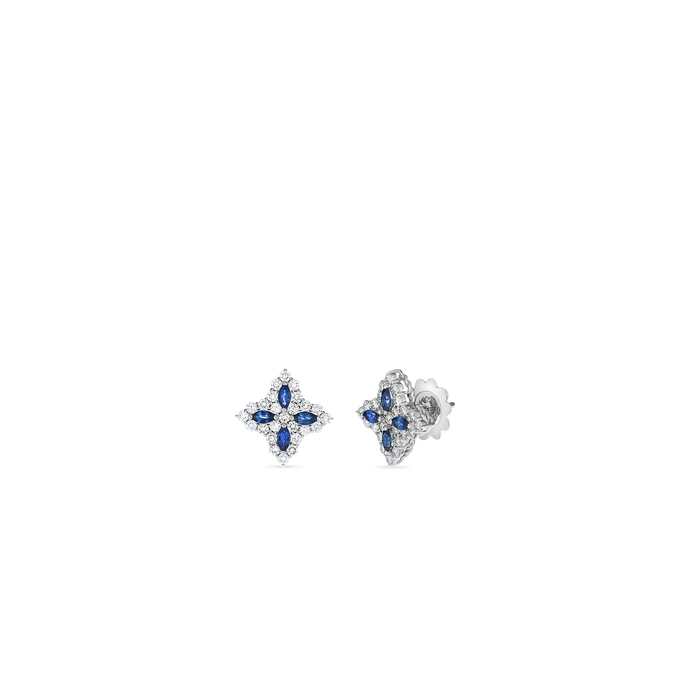 Roberto Coin 18 karat white gold Medium Princess Flower Sapphire and Diamond Earrings, D=1.01tw, SA=0.65tw