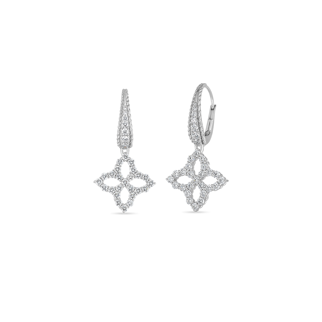 Roberto Coin 18 karat white gold Medium Outline Princess Flower Diamond Drop Earrings, D=1.14tw