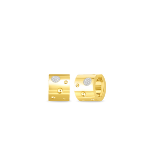 Roberto Coin 18 karat yellow and white gold Wide Pois Moi Luna Diamond Huggie Earrings, D=0.16tw