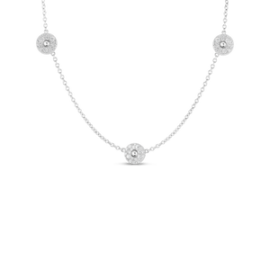 "Roberto Coin 18 karat white gold Pois Moi Luna 3 Station Diamond Necklace 16-18"", D=0.97tw"