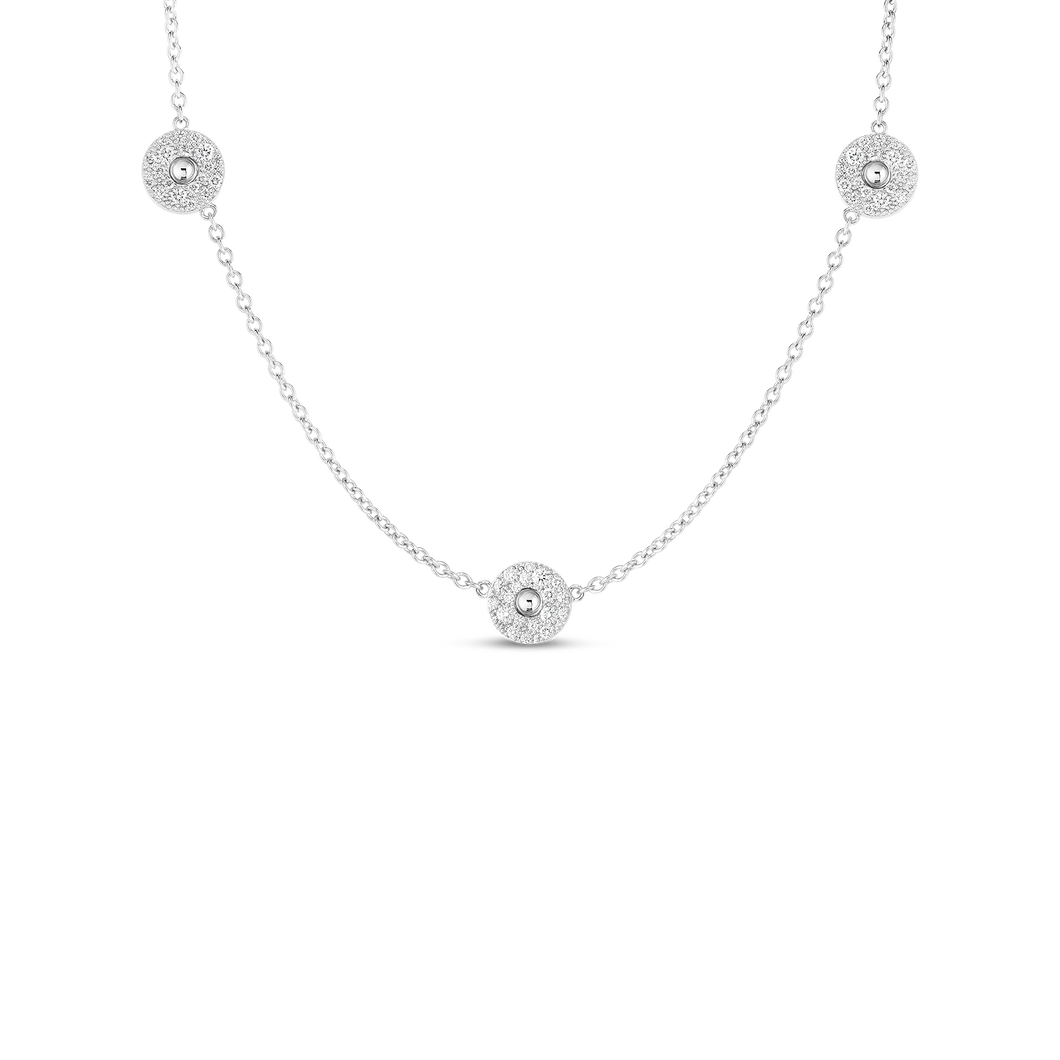 Roberto Coin 18 karat white gold Pois Moi Luna 3 Station Diamond Necklace 16-18
