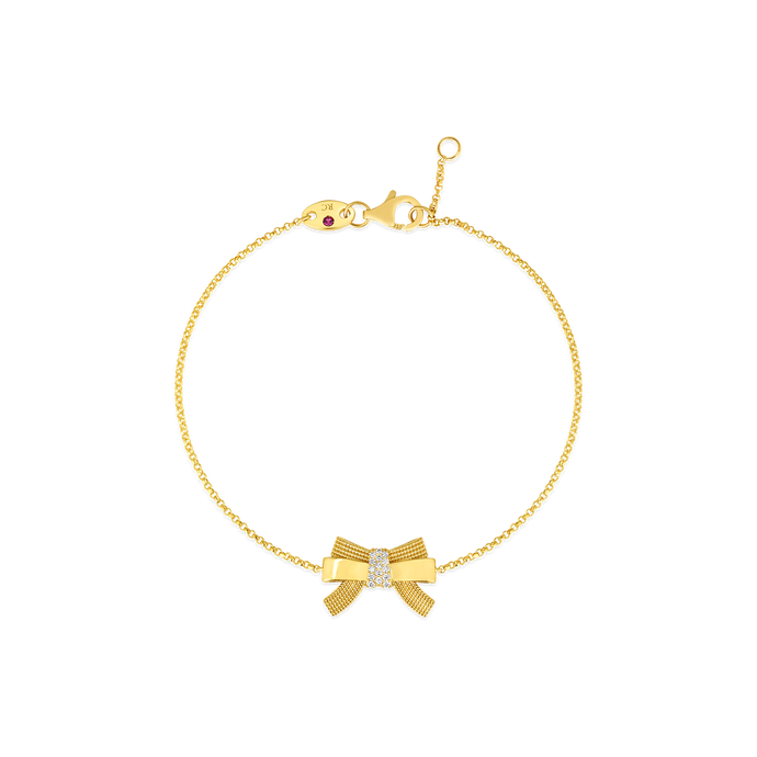 Roberto Coin 18 karat yellow gold Disney Cinderella Bow Diamond Bracelet, D=0.05tw