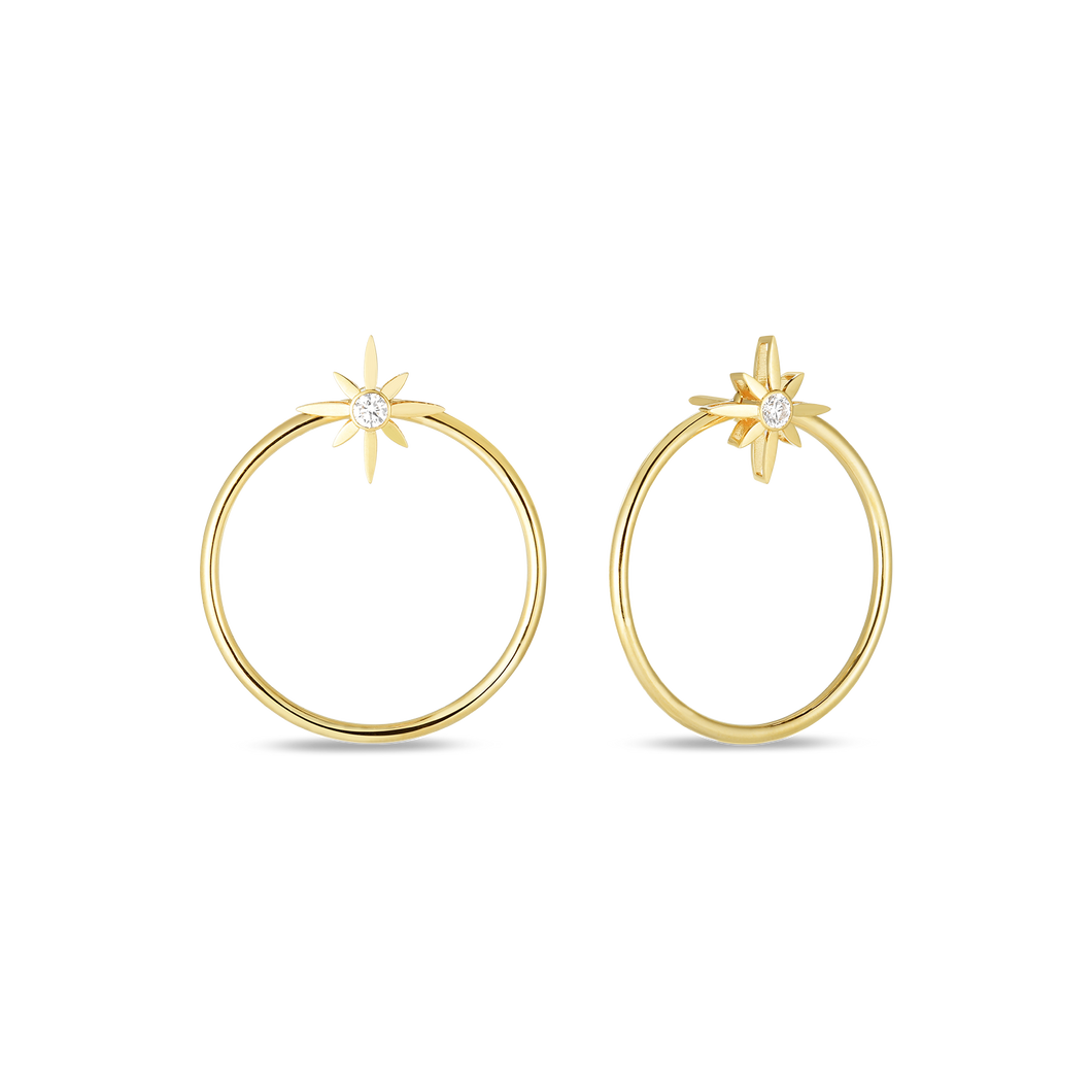Roberto Coin 18 karat yellow gold Disney Cinderella Wand Circle Convertable Diamond Earrings, D=.20tw
