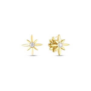 Roberto Coin 18 karat yellow gold Disney Cinderella Wand Diamond Stud Earrings, D=0.20tw