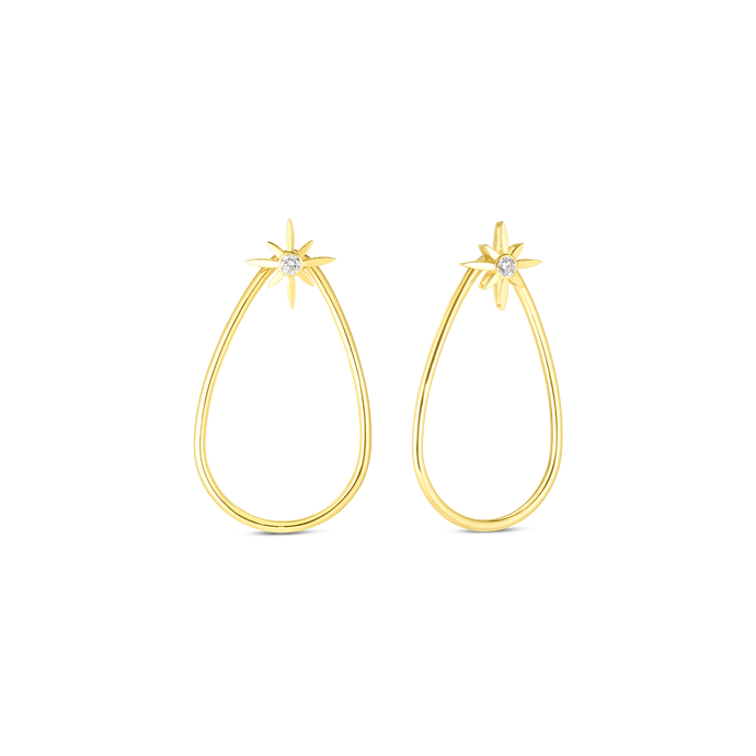 Roberto Coin 18 karat yellow gold Disney Cinderella Wand Diamond Teardrop Earrings, D=0.20tw