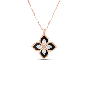 "Roberto Coin 18 karat rose and white gold Princess Flower Black Jade and Diamond Pendant 17"", D=0.16TW, BJ=3.40tw"