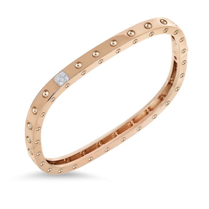 Roberto Coin 18 karat rose and white gold Pois Moi 1 Row Diamond Bangle 46x56, D=0.07tw