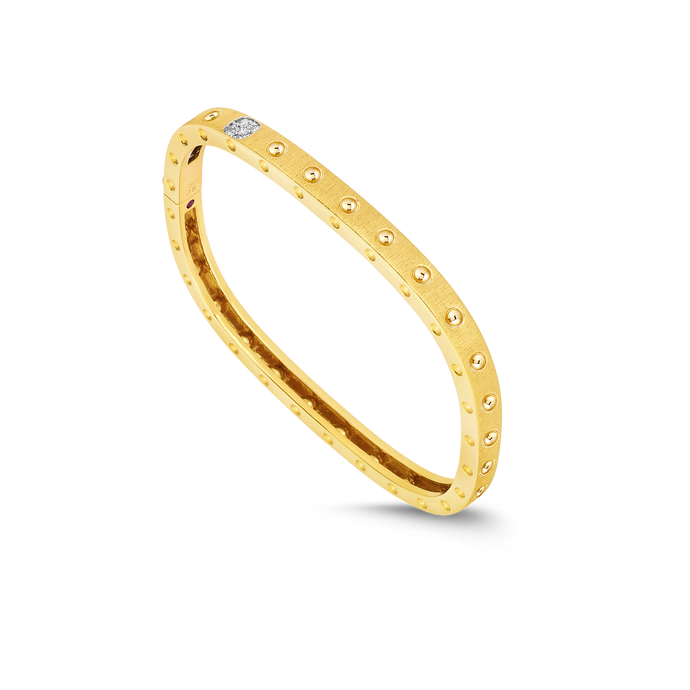 Roberto Coin 18 karat yellow and white gold Pois Moi 1 Row Satin Diamond Bangle 46x56, D=0.07tw