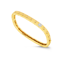 Load image into Gallery viewer, Roberto Coin 18 karat yellow and white gold Pois Moi 1 Row Satin Diamond Bangle 46x56, D=0.07tw