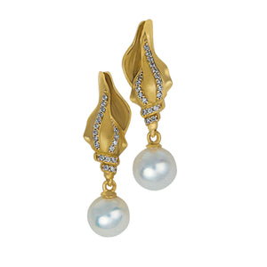 14K Yellow Gold Conch with 7-7.5mm Fresh Water Pearls and Diamonds Earrings, D=.11tw HI/SI