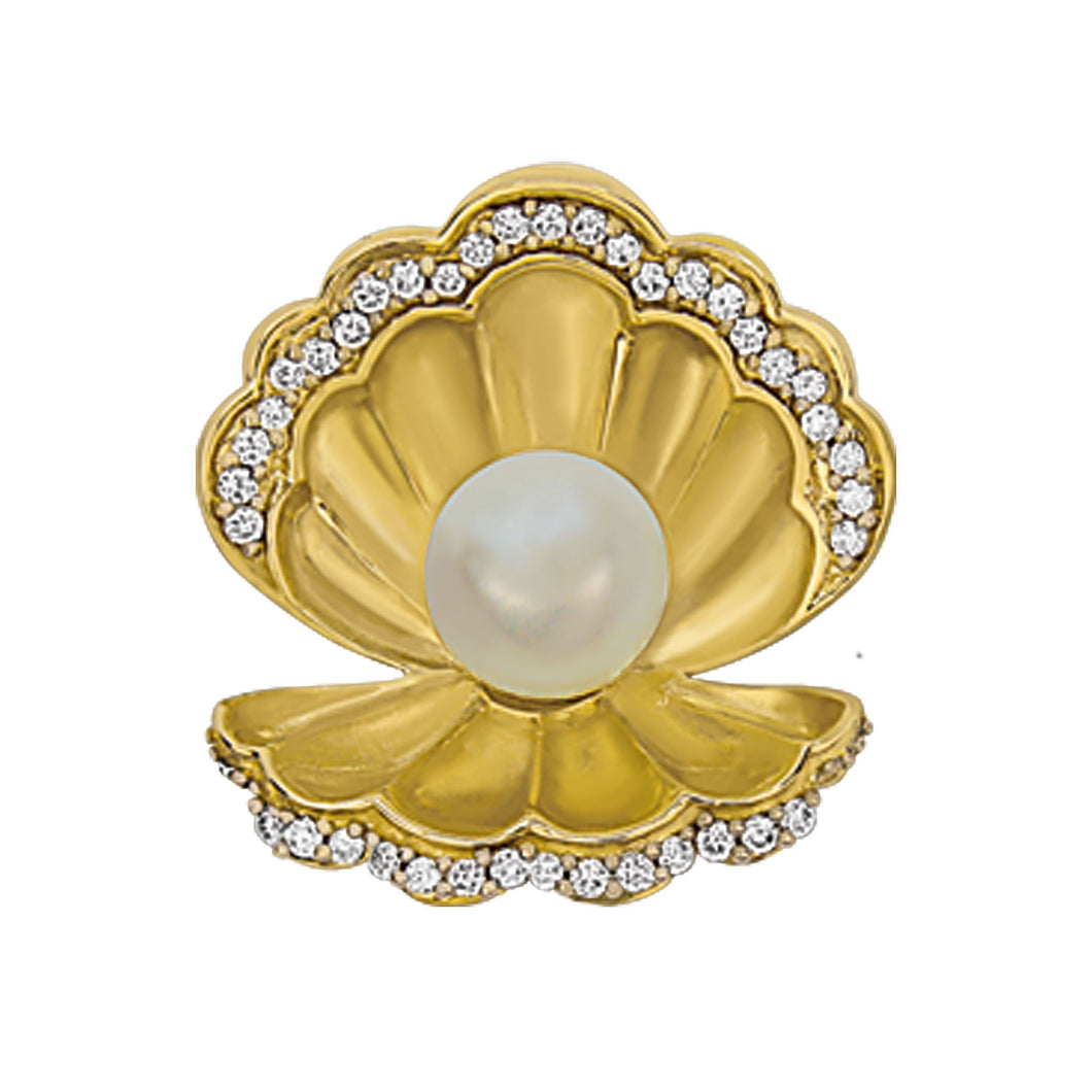 14K Yellow Gold Open Scallop with 6-6.5mm Fresh Water Pearl and Diamonds Pendant, D=.16tw HI/SI