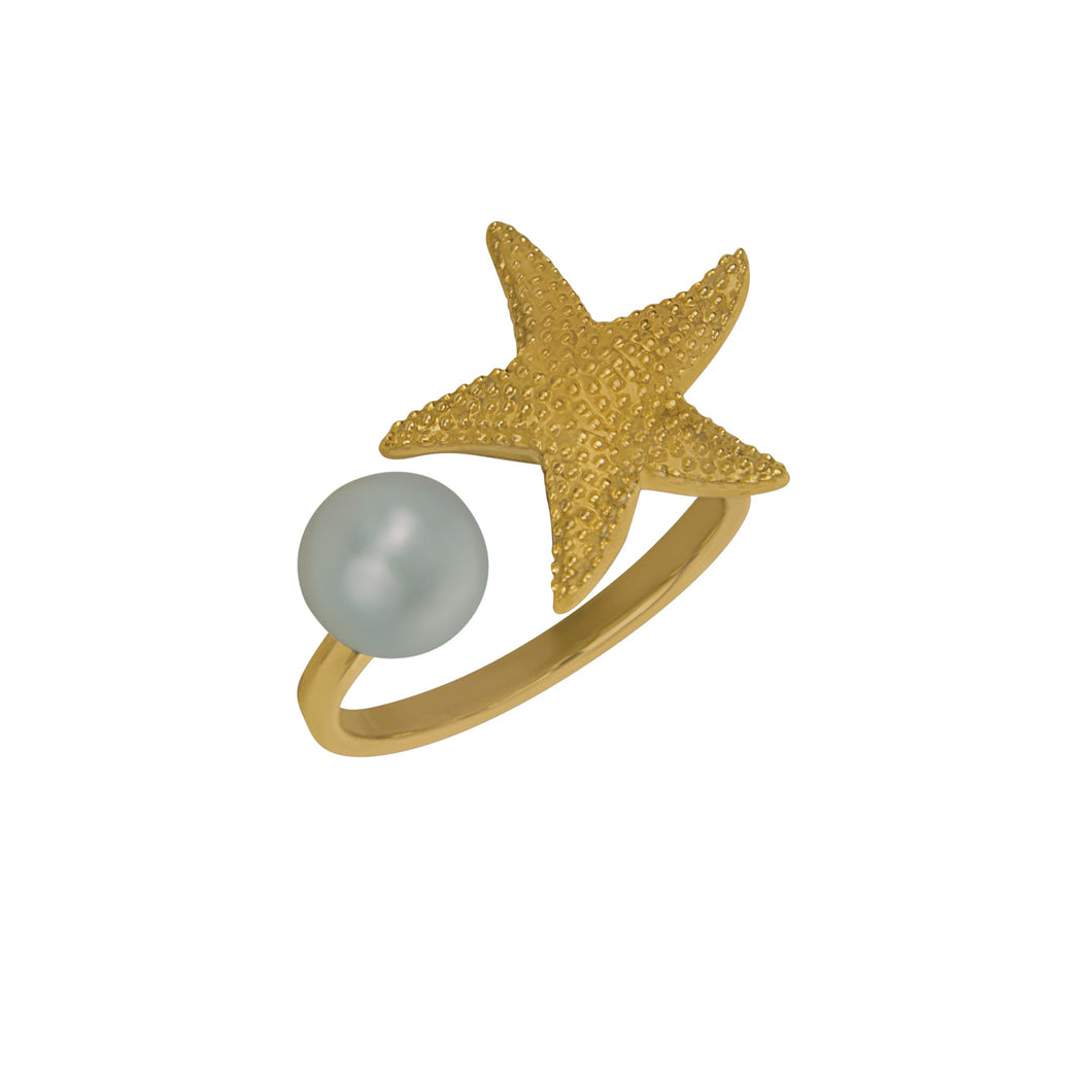 14K Yellow Gold Starfish with 7-7.5mm Fresh Water Pearl Cuff Ring, Size 6.5