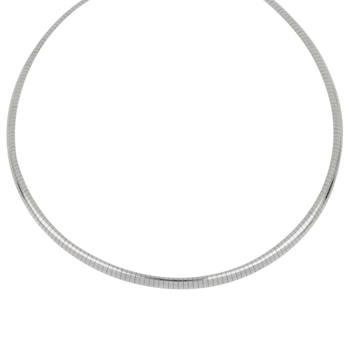 Sterling Sliver 4mm Omega Rodium Necklace 16