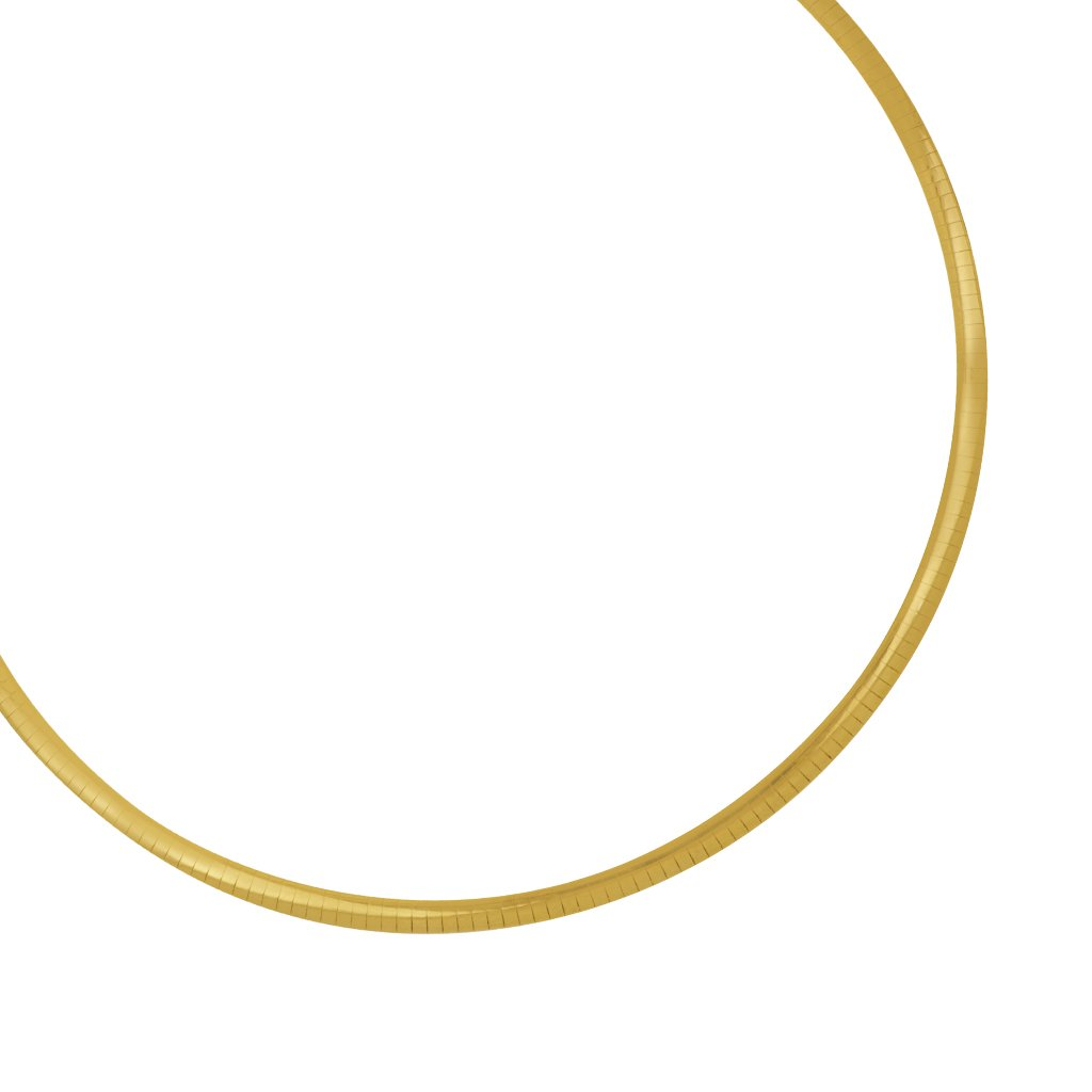 Sterling Silver and 14K Yellow Gold 4mm Reversabile Omega Necklace 16