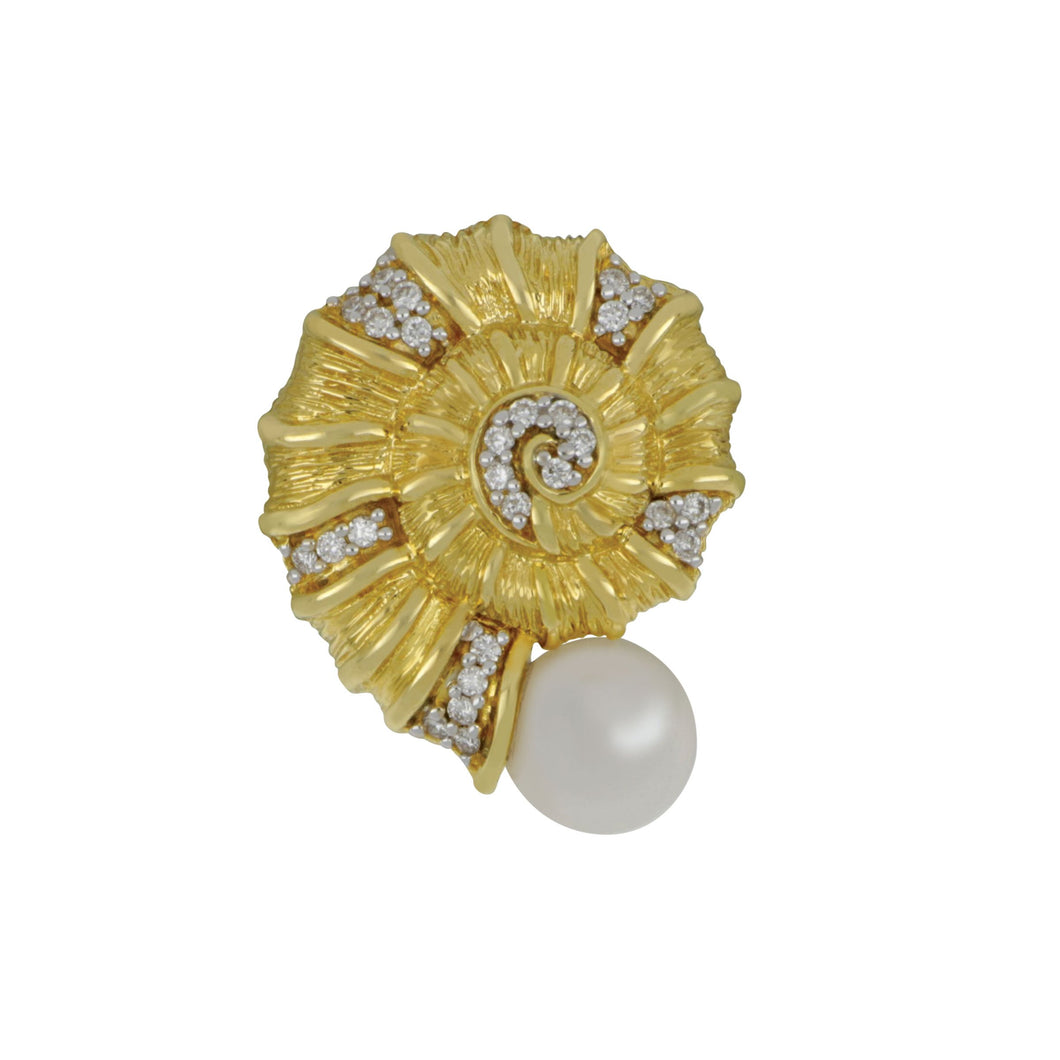 14K Yellow Gold Nautilus with 6-6.5mm Fresh Water Pearl and Diamonds Pendant, D=.10tw HI/SI