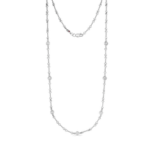 "Load image into Gallery viewer, Roberto Coin 18 karat white gold diamond by the inch 7 station dog bone necklace 18"", D=0.28tw"