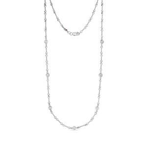"Roberto Coin 18 karat white gold diamond by the inch 7 station dog bone necklace 18"", D=0.28tw"