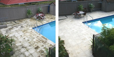 Before and After Photo of treating mould on pool pavers