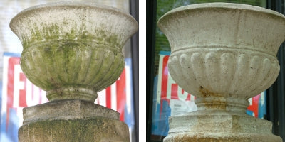 Before and After Photos of a treated garden statue