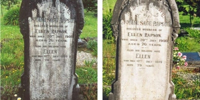 Before and After Photos of a treated grave stone