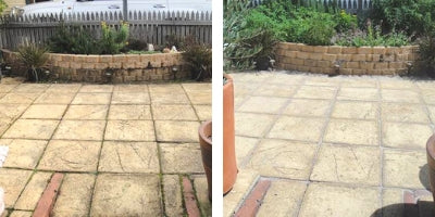 Before and After Photos of a treated patio area