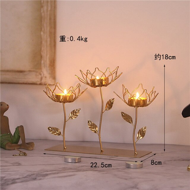 Gold Flower Candle Holder