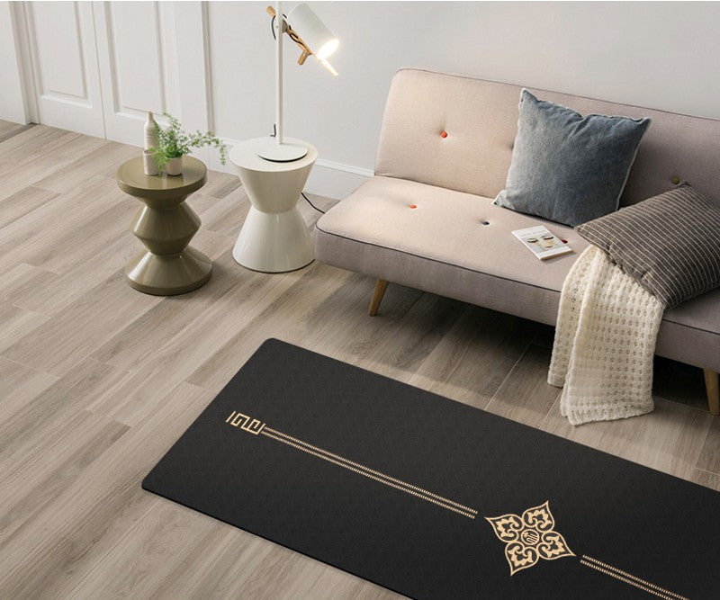 Golden Flower Suede Yoga Mat With Bag (6mm)