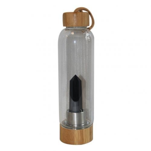 Black Obsidian Bamboo Crystal Water Bottle